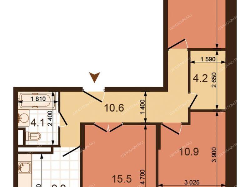 трёхкомнатная квартира на улице Июльских Дней дом 1 к1
