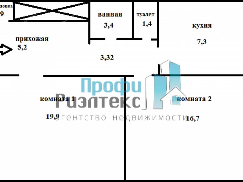 двухкомнатная квартира на  дом 51 посёлок Дружный
